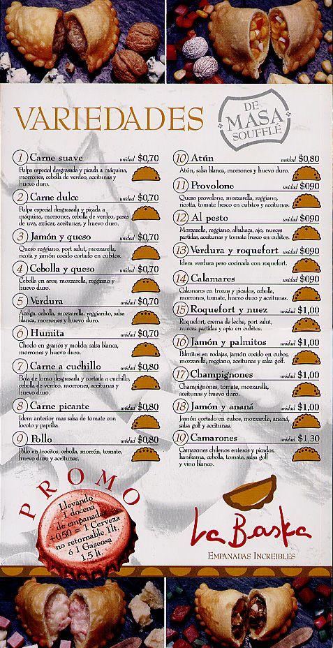 La comida Menú de empanadas