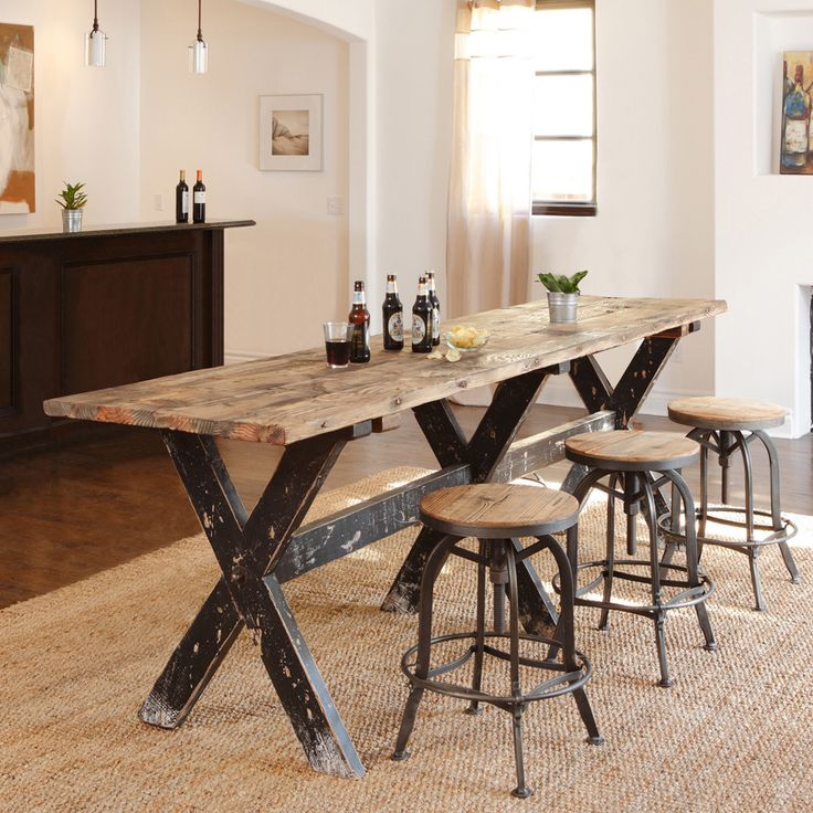 Handcrafted Of Reclaimed Wood This Rugged And Beautiful Gathering Table Is Highly Functional With Resounding