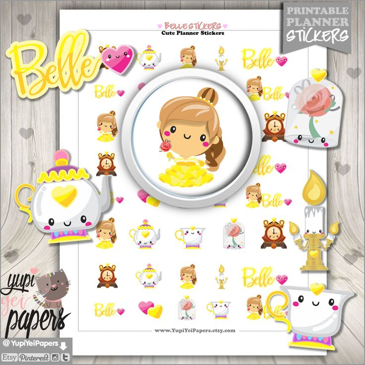 50%OFF - Princess Stickers, Planner Stickers, Printable Planner Stickers, Belle Stickers, Planner Accessories, Fairytale Stickers