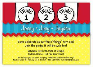 Dr Seuss Thing 1 2 3 Girl Boy Triplets Birthday Invitation