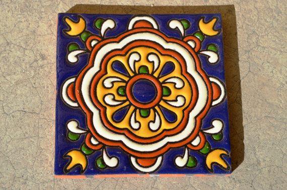 """10 Azulejos Mexicanos. Pintados a mano 4x4""""                                                                                                                                                                                 Más"""