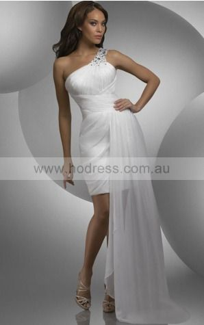Sheath One Shoulder Short Chiffon Natural Cocktail Dresses gt1077--Hodress