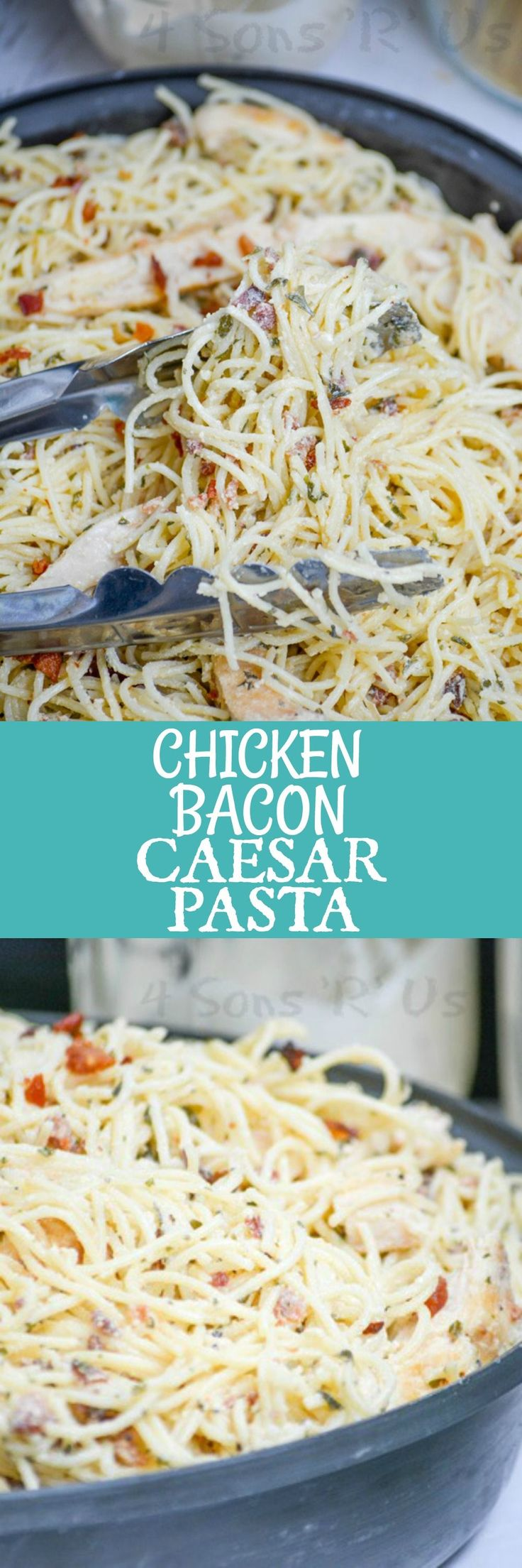 It's quick and easy, it's creamy pasta Heaven. Studded with crispy crackles of bacon, chunks of tender juicy chicken, and bound together with a thick Caesar dressing- Chicken Bacon Caesar Pasta is a full meal that masquerades as a hot pasta salad.