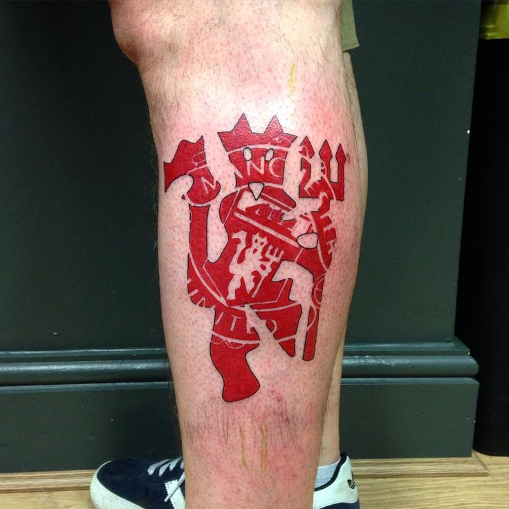 """Tomm Birch on Twitter: """"First football tattoo! Manchester United devil and badge design http://t.co/IWsOzgK4Fh"""""""