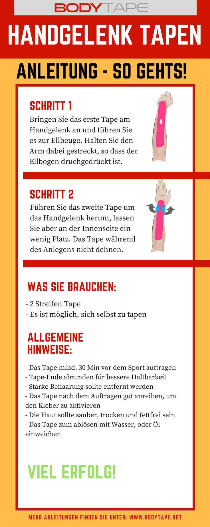 Handgelenk Tapen Anleitung - Kinesiologie Tape Anleitung zum selber Tapen des Handgelenk. Mehr Anleitungen unter: http://taping-guide.com