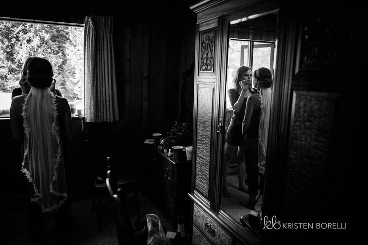 Reflection of bride getting ready  (Kristen Borelli Photography, Victoria Wedding Photographer, Pine Lodge Farms Wedding Photographer, Vancouver Island Wedding Photographer, Nanaimo Wedding Photographer, Destination Wedding Photographer, BC Wedding Photography)
