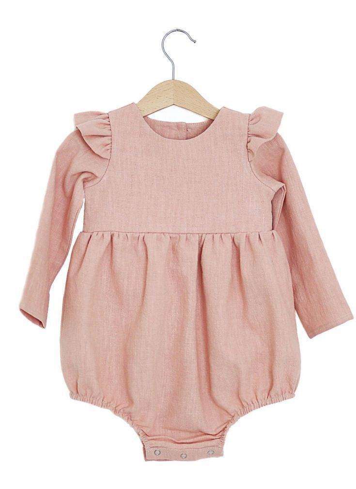 4b98fc06a Handmade Long Sleeved Linen Baby Romper