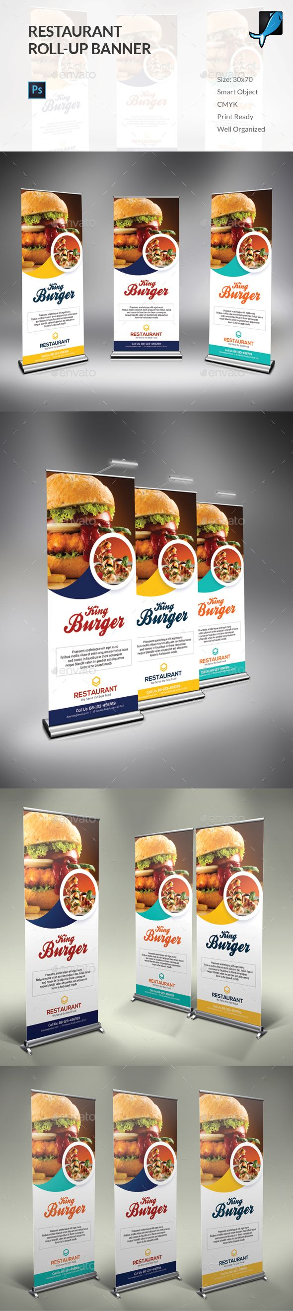 Restaurant Rollup Banner Template PSD #design Download: http://graphicriver.net/item/restaurant-rollup-banner/14163998?ref=ksioks