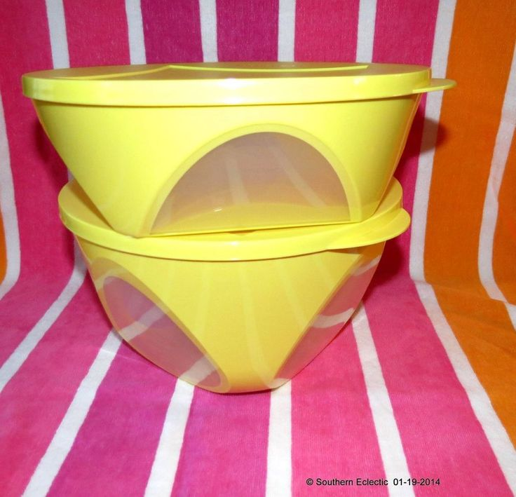 Tupperware Set of 2 Impressions Large Deep Bowls Clear Sides 18 & 10 Cup Yellow