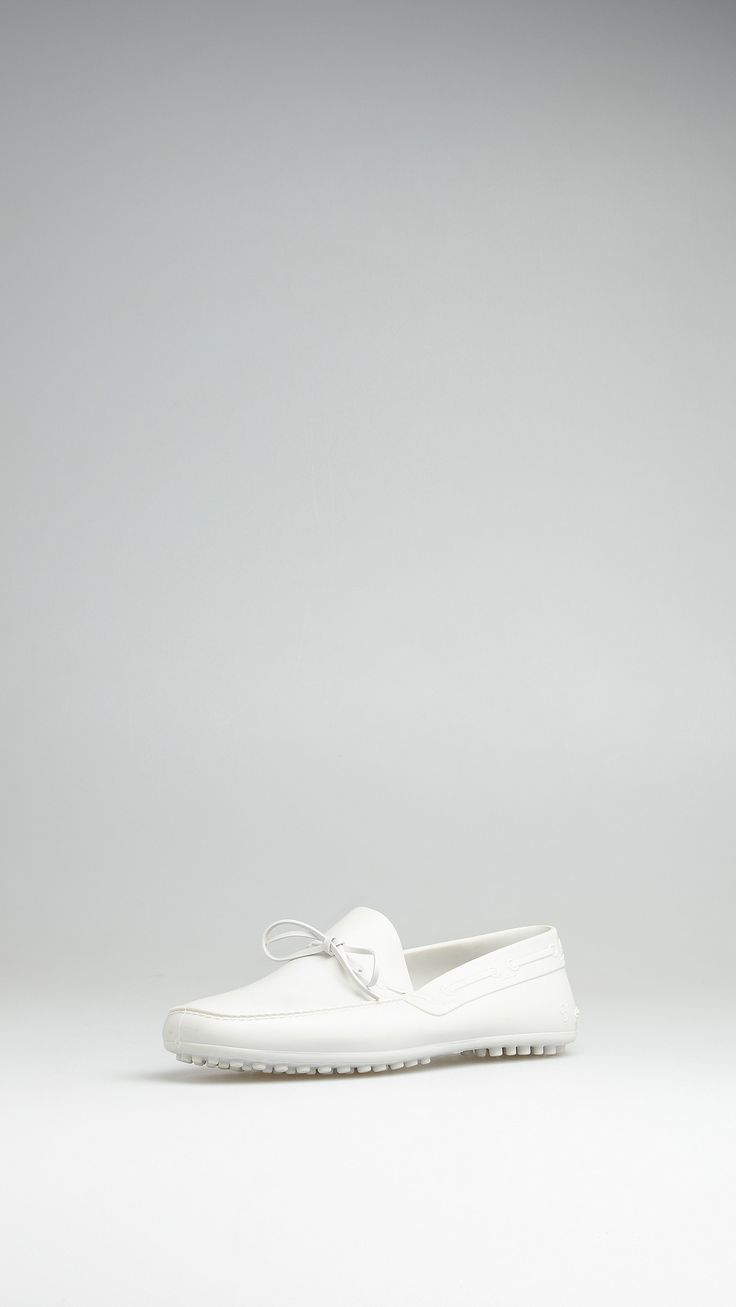 White TPU rubber loafers, leather insole, rubber studs. Size 43.