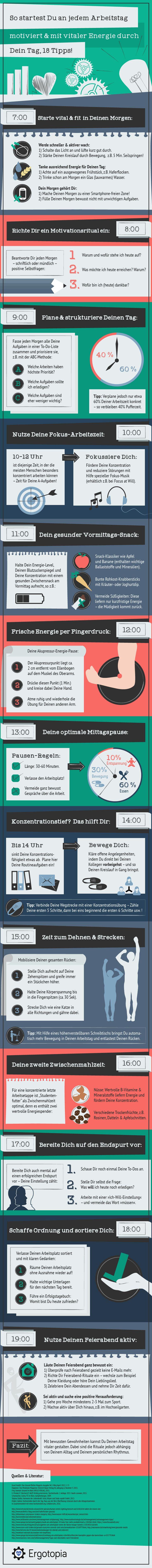[Infografik] Gesund arbeiten: 18 Tipps fuer Deinen vitalen Arbeitstag