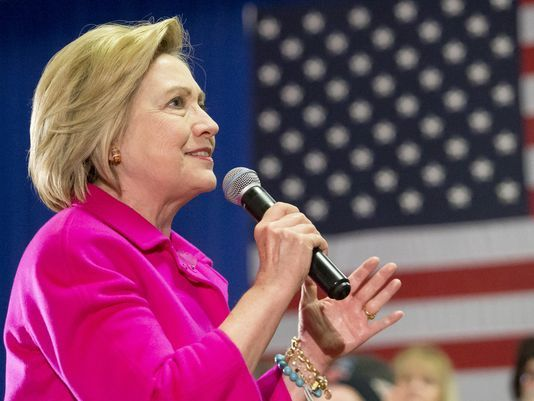 Presidential candidate Hillary Clinton campaigns at the Starlite Ballroom at the Mississippi Valley Fairgrounds, Monday, Jan. 4, 2016, in Davenport, Iowa. Clinton, will make stops in Cedar Rapids, Des Moines, Osage, Sioux City, and Council Bluffs during h