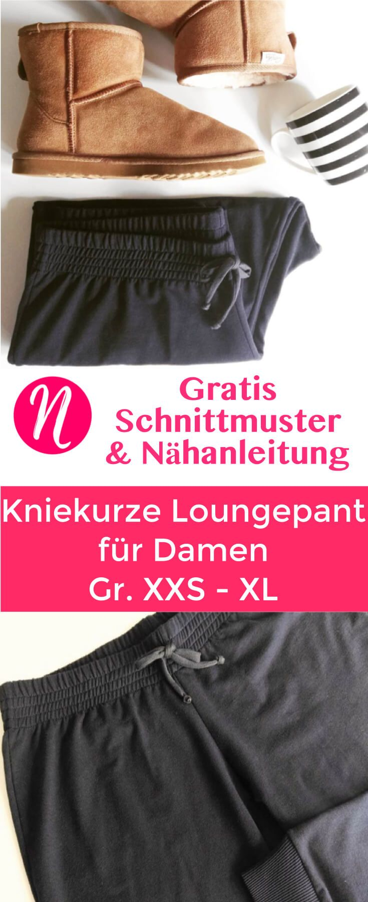 Kurze Jogginghose für Damen bis zum Knie ❤ Kostenloses Schnittmuster zum Ausdrucken ❤ bequem & lässig ❤ für Strickstoffe ❤ XXS-XL ❤ ✂ Nähtalente.de ❤ Short Lounge Pant for Woman ❤ Free PDF-Sewing Pattern ❤ very comfortable ❤ for knit fabrics ❤ XXS-XL ❤ ✂