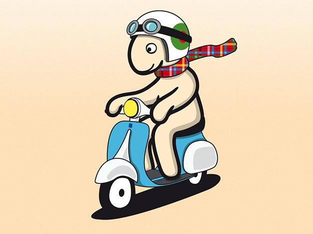 Una Vespa blanquiazul, unas gafas y una bufanda al viento: un Pony con mucho estilo.