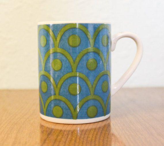 Rad Vintage Turquoise and Avocado Green Coffee Cup Mug With