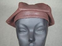 Chocolate Brown Leather Beret