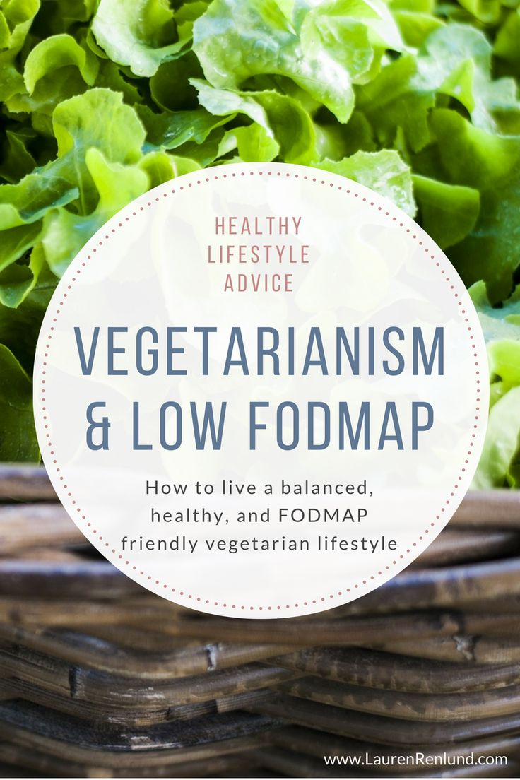 Vegetarianism and the low FODMAP diet. It can be tough to follow the low FODMAP diet when also following a vegan or vegetarian diet. Learn about how to implement these diets in a balanced way and which nutrients are of high concern. It's highly recommended when following the low FODMAP diet to work with a trained dietitian, especially when you have other dietary restrictions