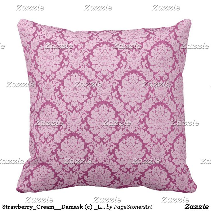 Strawberry_Cream__Damask (c) _Large Throw Pillow