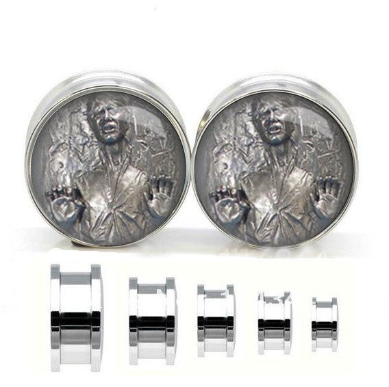 Han Solo   ear plugs ,surgical steel ear plug  ,Stainless steel  ear plugs,tapers and plugs,Tunnel Jewelry