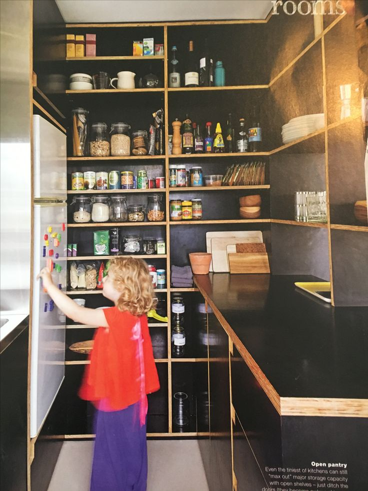 Shallow pantry shelves