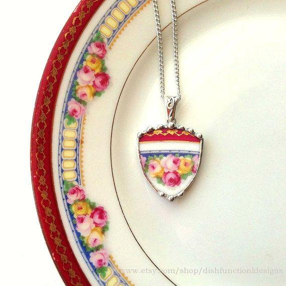 Broken china jewelry necklace pendant rose shield antique porcelain broken plate necklace