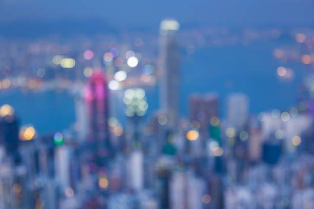 aerial view hong kong city business downtown blurred bokeh lights