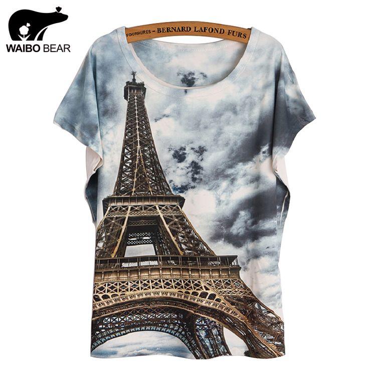 Fashion Women  T Shirt Short Sleeve Eiffel Tower Print tshirts Women Tops T- Shirt Casual Patchwork Top Shirt Women