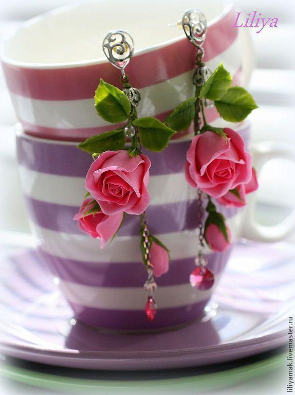"""Купить Серьги с бутонами роз """"Соблазн"""" - розовый, серьги с розами, розы ручной работы"""