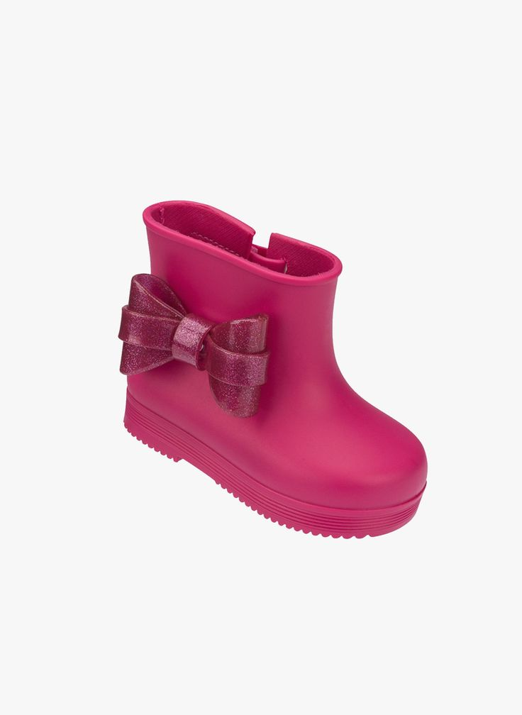Mini Melissa Bow Rubber Rain Boots - Fuchsia Pink - 32154 #babyrainboots