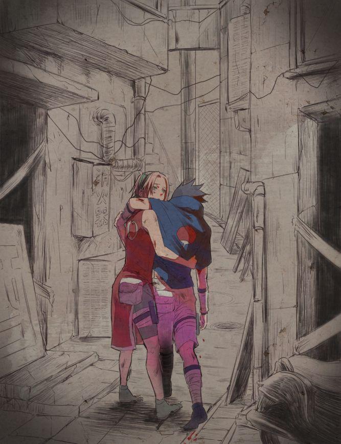 Pixiv Id 17610784, NARUTO, Haruno Sakura, Uchiha Sasuke, Blood On Face, Arm Around Shoulder