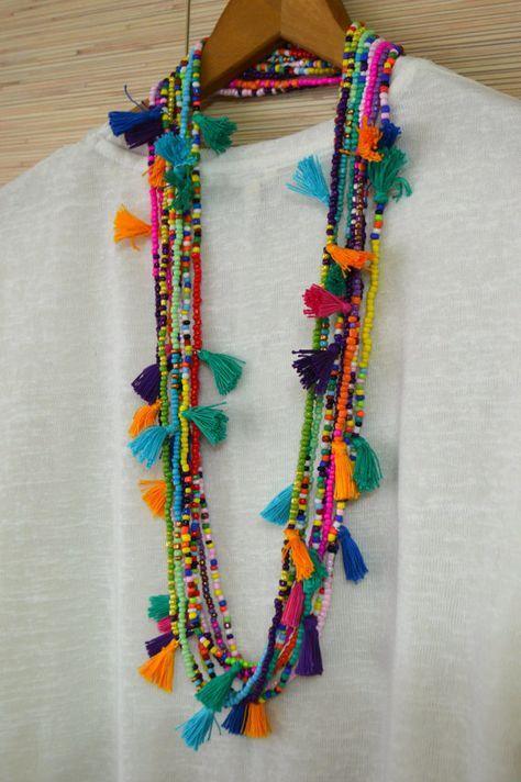 Larga borla collar borla de color de rosa caliente con cuentas collar con borlas de semilla grano borla Boho chic joyas tribales collar Ibiza
