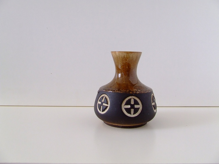 Danish Ceramic Vase - Frank Keramik - Brown with Nordic Pattern