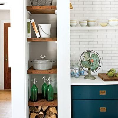Stylish Storage | Slender but sturdy wood planks keep necessities close at hand.
