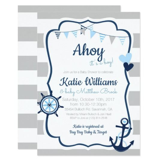 Ahoy it's a boy nautical anchor baby shower invitation, customize your own invite at zazzle. #babyboy #babyshowerideas #babyshowerinvitations #invitations  #ahoy #nautical #anchor #navy #shower #invites #boy #newbaby #coastal #itsaboy
