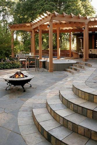 Hot Tub Pergola by All Oregon Landscaping