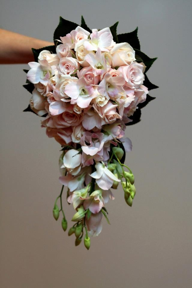 Tear drop bouquet of pink & ivory rose, with pink orchids & camellia leaves #weddings  www.RedEarthFlowers.com.au