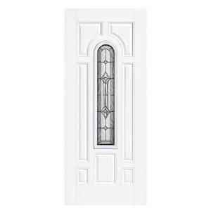 Masonite, Providence Center Arch Primed Steel Prehung Front Door with No Brickmold, 14643 at The Home Depot - Mobile