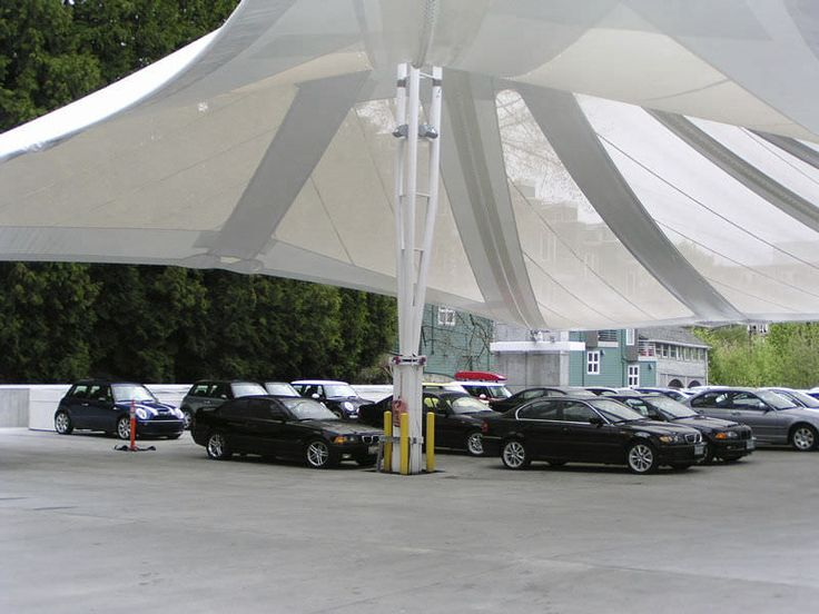 Cable-and-membrane tensile structure / for carports / with PVC membrane / for parking lots - RASMUSSEN BMW DEALERSHIP - Eide Industries