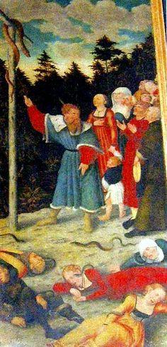 """""""Het volk Israēl moet voor jou een voorbeeld zijn ...door het oog ergens anders heen te wenden, namelijk tot de koperen slang"""" Dr M. Luther."""" Ik zal niet sterven, maar leven"""" blz.50. """"Koperen slang"""" Lucas Cranach de Oudere. Opzien tot de verhoogde Heiland,  Num.21:9, Joh. 3:14, is het centrale thema in de Reformatorische kunst."""