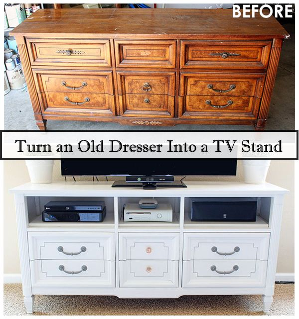 Make a TV Stand From an Old Dresser - http://www.diyscoop.com/make-a-tv-stand-from-an-old-dresser/