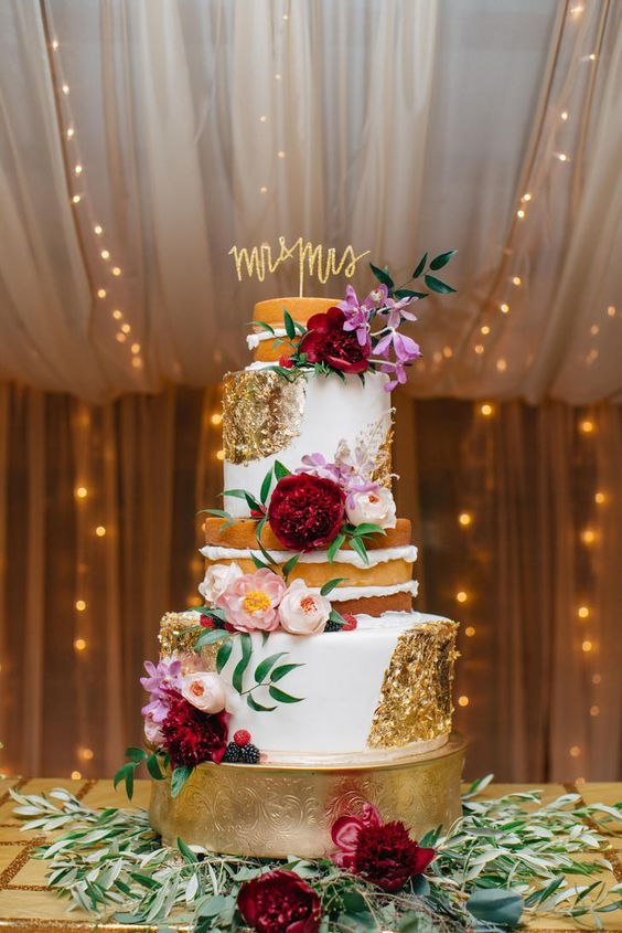 Half-naked, half-fondant cake dressed with gold foil, pink garden roses, marsala and pink peonies / http://www.deerpearlflowers.com/burgundy-and-blush-fall-wedding-ideas/2/