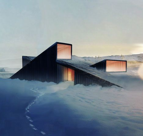Norwegian architects Fantastic Norway have designed a mountain lodge with a sloping roof that you can ski over.: Mountain Cabins, Modern Cabins, Fantastic Norway, House Interiors, Mountain Hill, Cloud, Mountain Lodges, Hill Cabins, Skiing Resorts