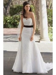 Organza Strapless Sweetheart Embroidered Bodice Wedding Dress