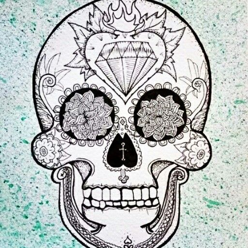 Diamond Skull Religious Mexican Catrina