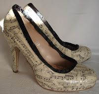 Creative You!: Craft a Pair of Decoupage Shoes with sheet music