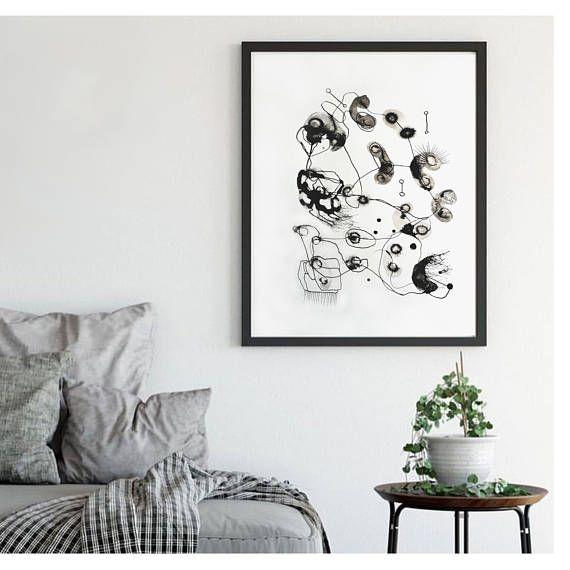 Black and white wall art Monochrome painting minimal art