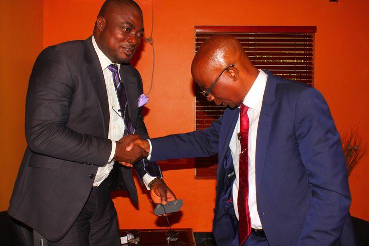 Host, Femi Ipadeola welcomes Dr Olamitoye on set of Enterprise700 TV interview recording