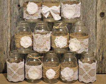 12 mangas de encaje de la arpillera boda bebé ducha