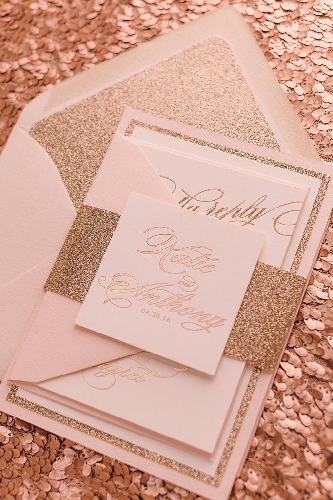 1032 best black tie glam wedding images on pinterest for Rose gold winter wedding invitations