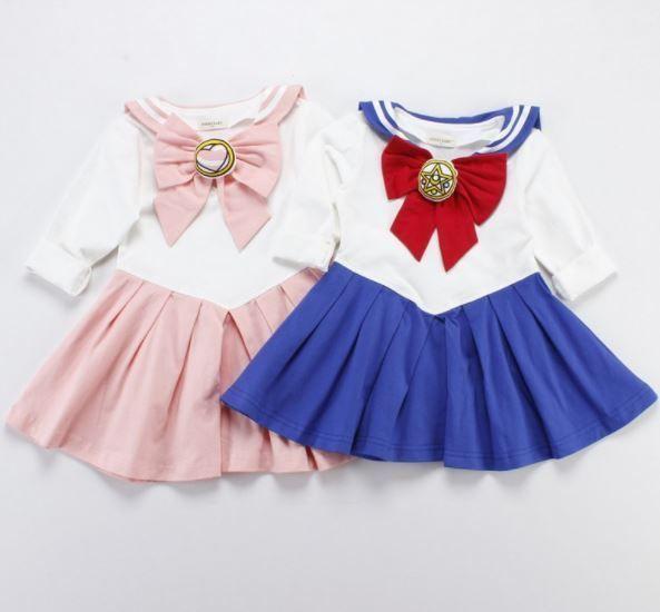 f9821e1d9cefd Japanese Anime Kid Baby Girls Sailor Moon Cosplay Bowknot Dress ...
